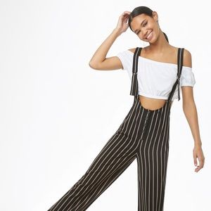 Forever 21 pinstripe pinafore adjustable jumpsuit